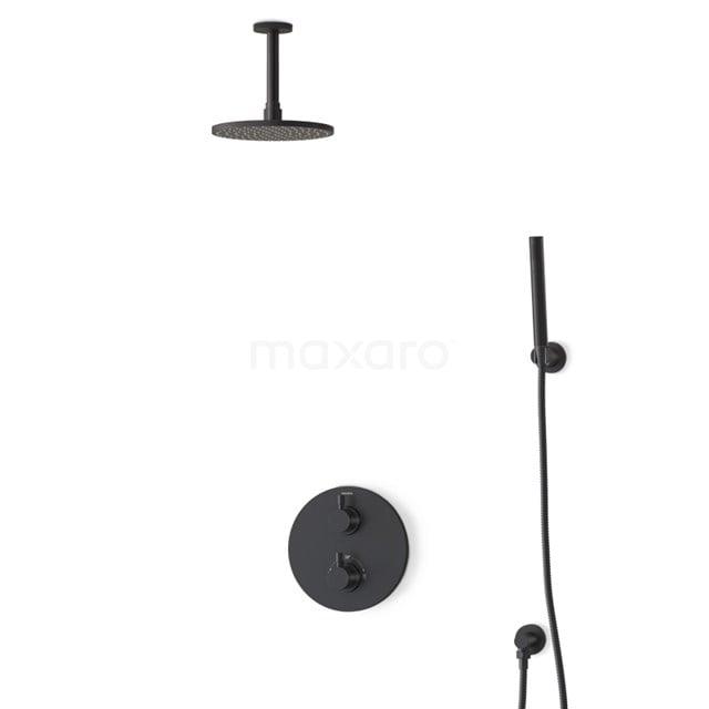 Inbouw Regendoucheset Radius Black, Thermostaatkraan, 20cm Hoofddouche, Zwart BIZ55-00055