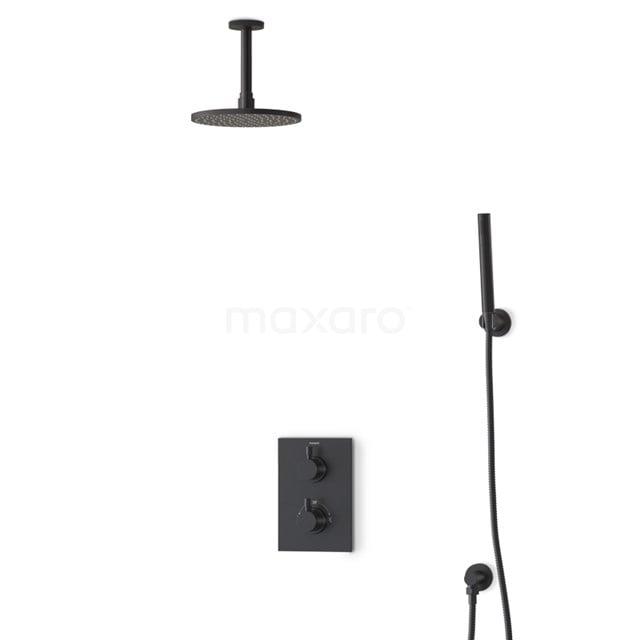 Regendouche Set Radius Black 20cm Inbouw Thermostaat Zwart BIZ55-00056