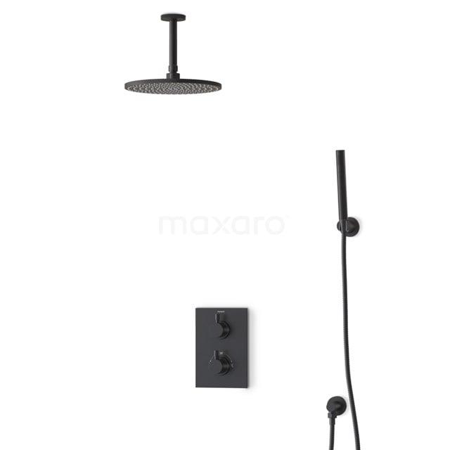 Inbouw Regendoucheset Radius Black, Thermostaatkraan, 25cm Hoofddouche, Zwart BIZ55-00059