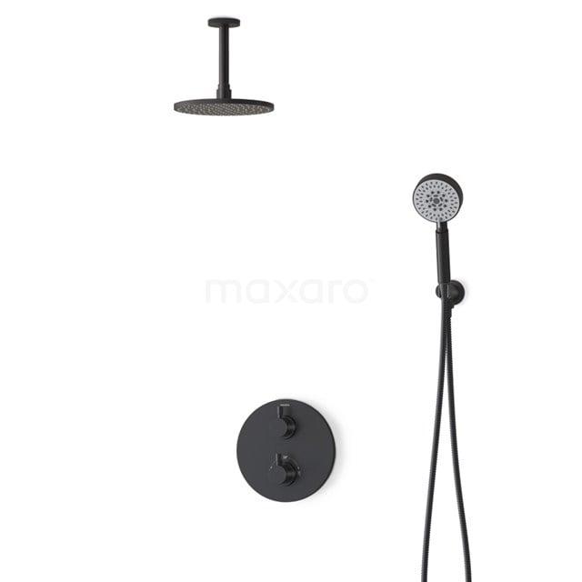 Regendouche Set Radius Black 20cm Inbouw Thermostaat Zwart BIZ55-00067
