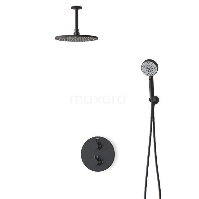 Regendouche Set Radius Black 25cm Inbouw Thermostaat Zwart BIZ55-00070