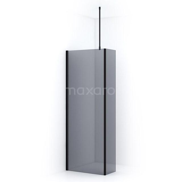 Inloopdouche met Zijwand Pearl 90cm Rookglas Veiligheidsglas 8mm Mat Zwart IPC092701M
