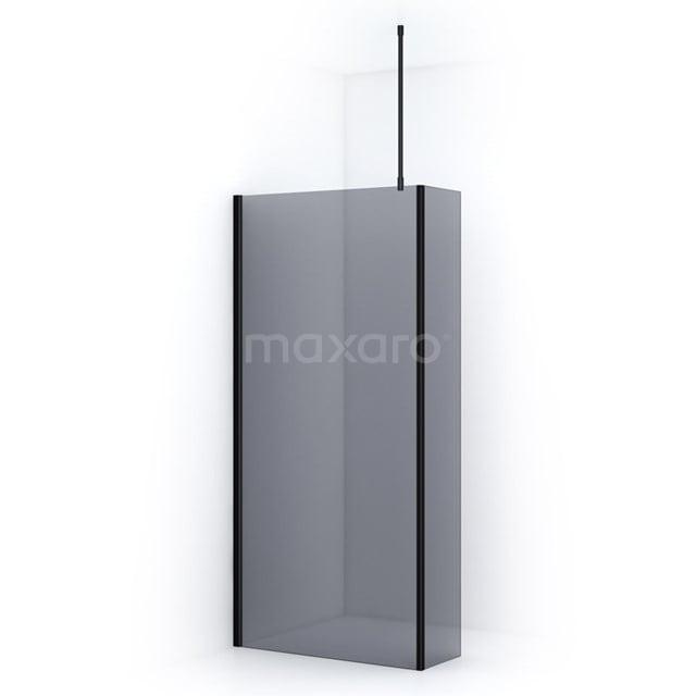Inloopdouche met Zijwand Pearl 100cm Rookglas Veiligheidsglas 8mm Mat Zwart IPC102701M