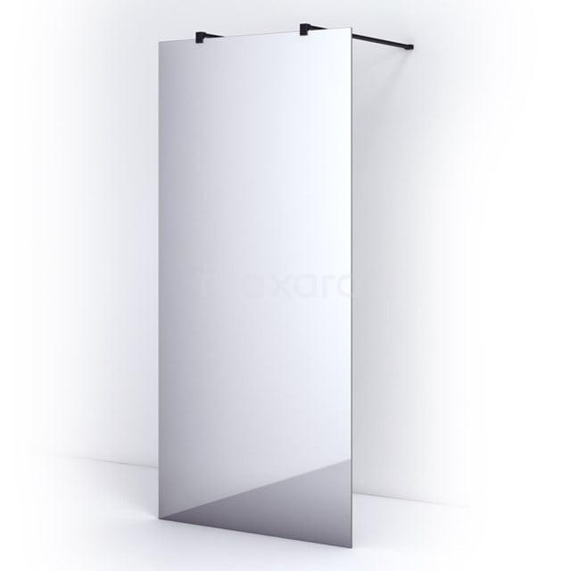Vrijstaande Inloopdouche 95cm Spiegelglas Veiligheidsglas 8mm Mat Zwart IPF10302M