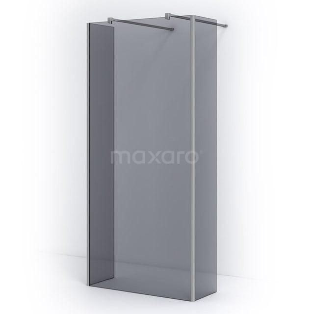 Vrijstaande Inloopdouche met Zijwand 95cm Rookglas Veiligheidsglas 8mm Chroom IPG10301C