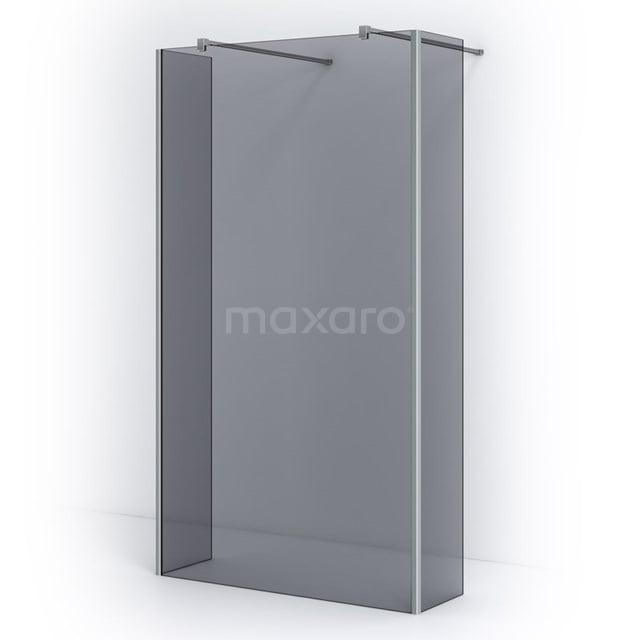 Vrijstaande Inloopdouche met Zijwand 115cm Rookglas Veiligheidsglas 8mm Chroom IPG12301C