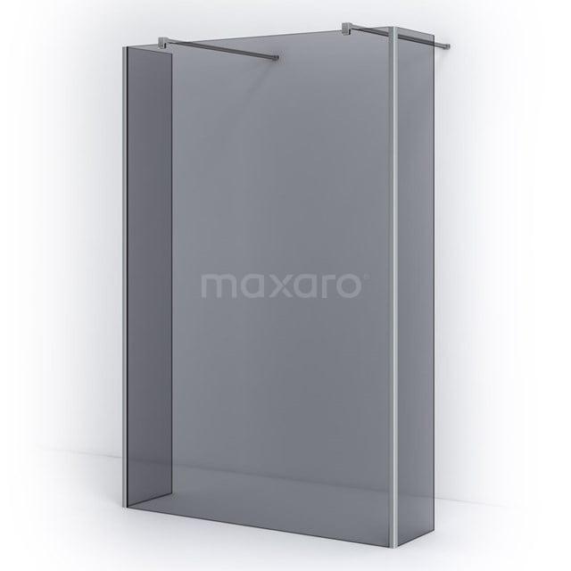 Vrijstaande Inloopdouche met Zijwand Pearl 135cm Rookglas Veiligheidsglas 8mm Chroom IPG14301C