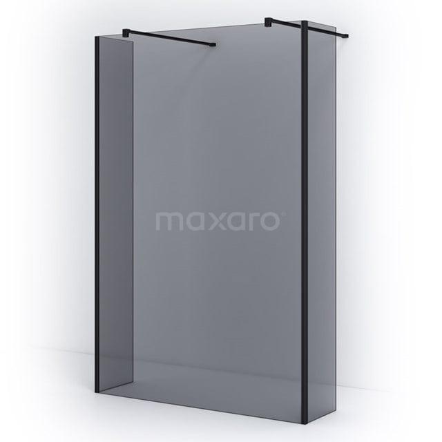 Vrijstaande Inloopdouche met Zijwand 135cm Rookglas Veiligheidsglas 8mm Mat Zwart IPG14301M