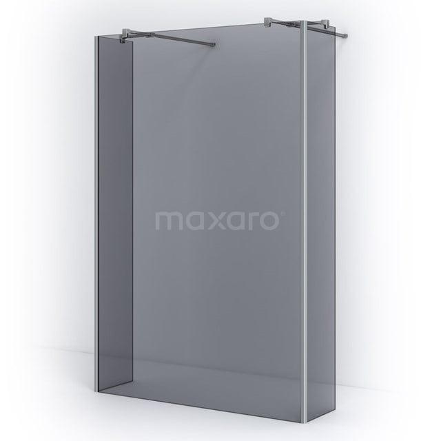 Vrijstaande Inloopdouche met Zijwand Pearl 135cm Rookglas Veiligheidsglas 8mm Chroom IPG14401C