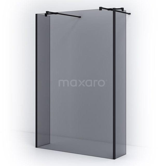 Vrijstaande Inloopdouche met Zijwand 135cm Rookglas Veiligheidsglas 8mm Mat Zwart IPG14401M