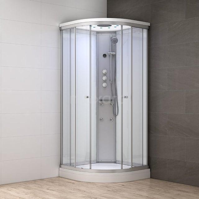 Complete Douchecabine 100x100cm Wit Modera Watermassage LED Verlichting AK1010-420100