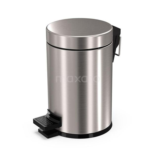 Pedaalemmer Radius Steel voor Badkamer en Toilet, 3 liter, Rvs-look 200-5201BR