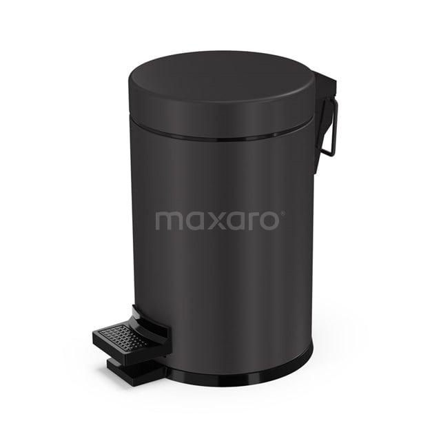 Pedaalemmer Radius Black voor Badkamer en Toilet, 3 liter, Zwart 200-5201MB