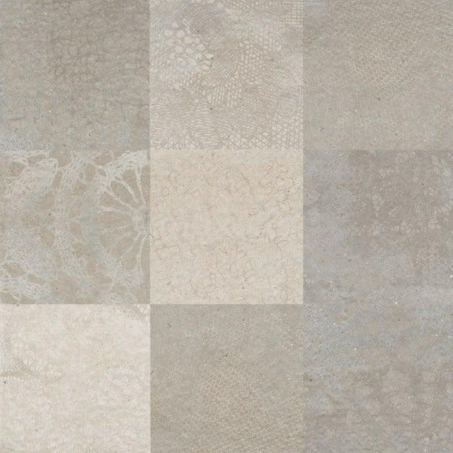 Vloertegel/Wandtegel Viene Saffraan Decor 60x60cm Natuursteenlook Grijs Gerectificeerd 303-030112