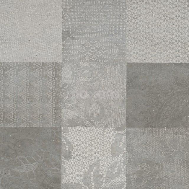Vloertegel/Wandtegel Viene Ombergrijs Decor 60x60cm Natuursteenlook Antraciet Gerectificeerd 303-030114