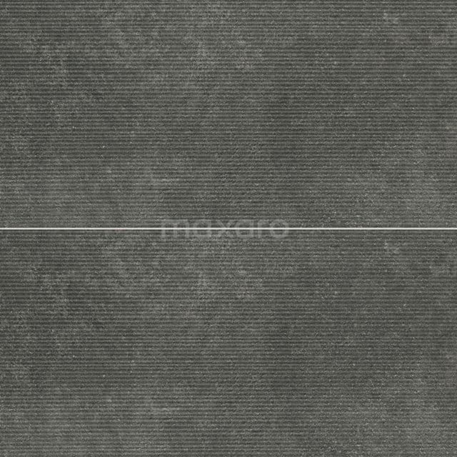 Vloertegel/Wandtegel Pavera Nero Reliëf 30x60cm Natuursteenlook Antraciet Gerectificeerd 303-060303