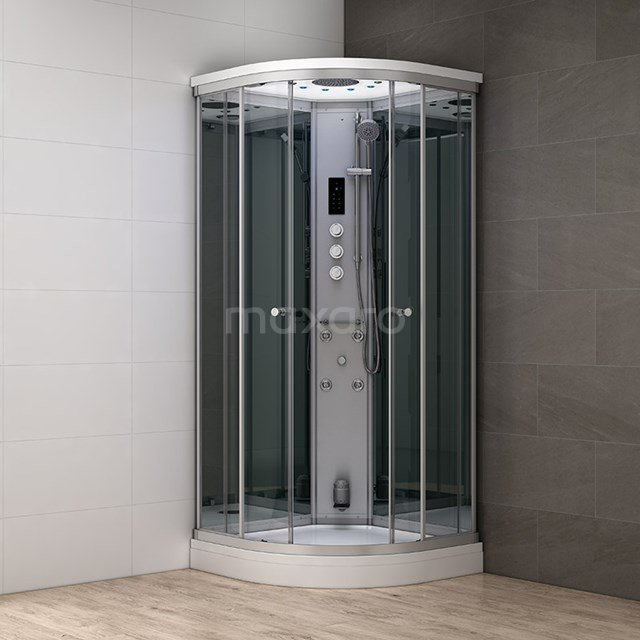 Stoomcabine Modera 90x90cm Spiegelglas Mistjets Watermassage LED AK0909-522100