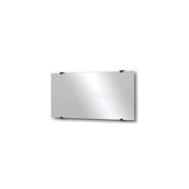 Badkamerspiegel Solo 70x30cm Spiegelhouders Rond Zwart Chroom M01-030720BC