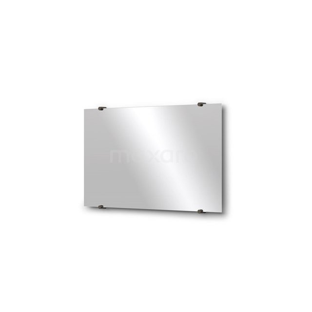 Badkamerspiegel Solo 70x40cm Spiegelhouders Rond Zwart Chroom M01-040720BC
