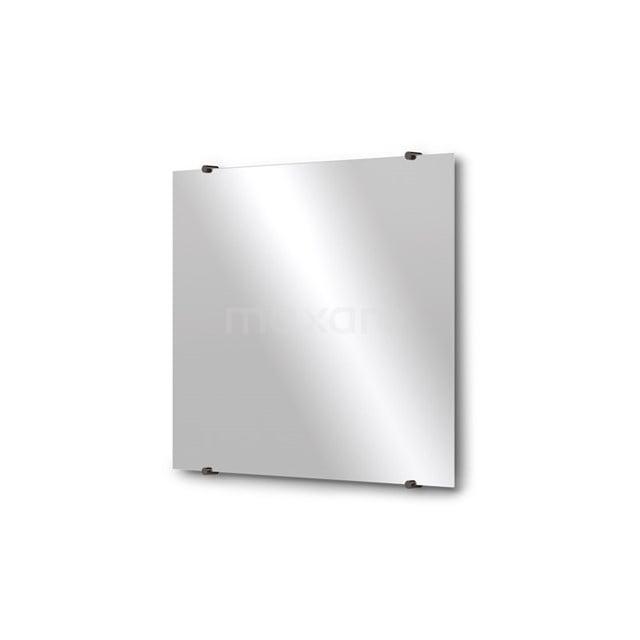 Badkamerspiegel Solo 70x60cm Spiegelhouders Rond Zwart Chroom M01-060720BC