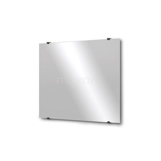 Badkamerspiegel Solo 80x60cm Spiegelhouders Rond Zwart Chroom M01-080620BC