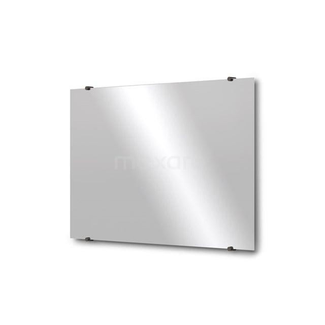Badkamerspiegel Solo 90x60cm Spiegelhouders Rond Zwart Chroom M01-090620BC