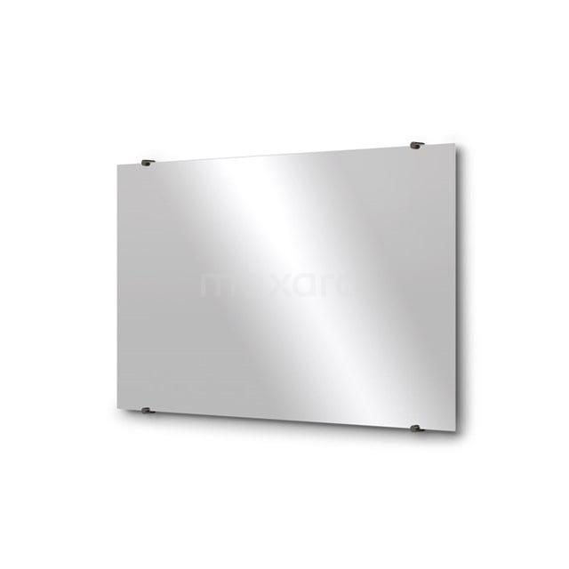 Badkamerspiegel Solo 100x60cm Spiegelhouders Rond Zwart Chroom M01-100620BC