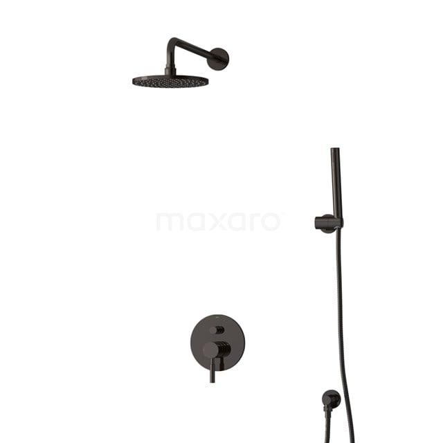 Inbouw Regendoucheset Radius Black Chrome, Eéngreeps Mengkraan, 20cm Hoofddouche, Zwart Chroom BIB55-00022