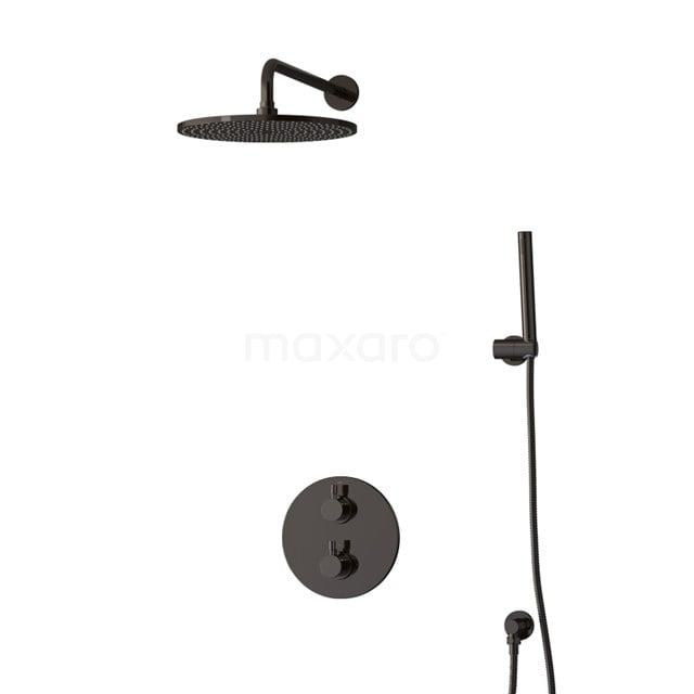 Inbouw Regendoucheset Radius Black Chrome, Thermostaatkraan, 30cm Hoofddouche, Zwart Chroom BIB55-00025