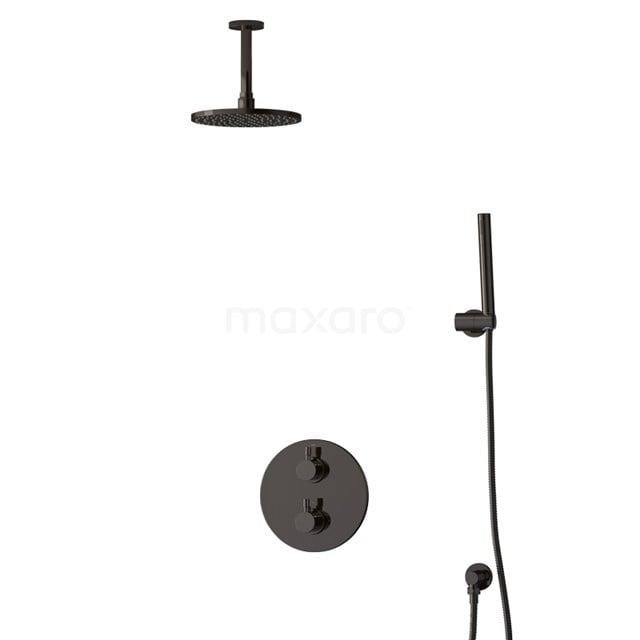 Inbouw Regendoucheset Radius Black Chrome, Thermostaatkraan, 20cm Hoofddouche, Zwart Chroom BIB55-00028