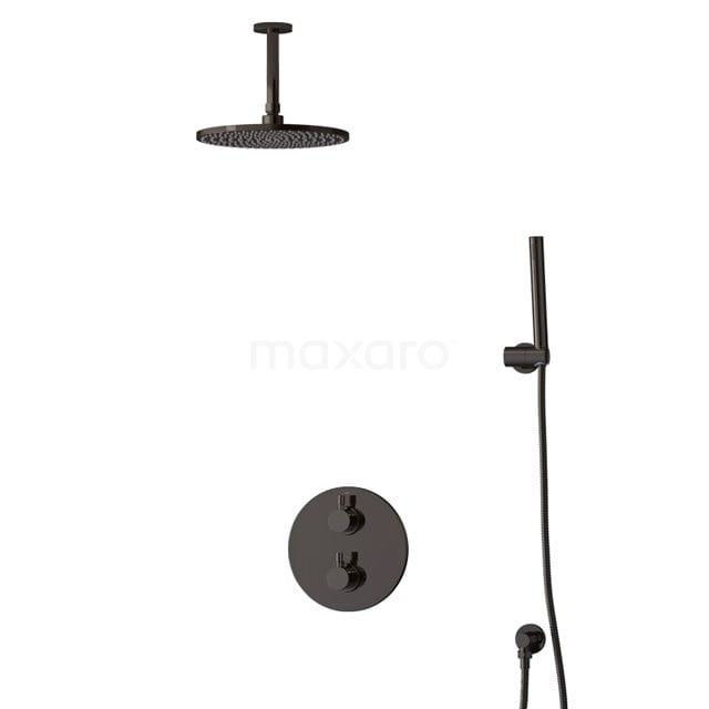 Inbouw Regendoucheset Radius Black Chrome, Thermostaatkraan, 25cm Hoofddouche, Zwart Chroom BIB55-00031