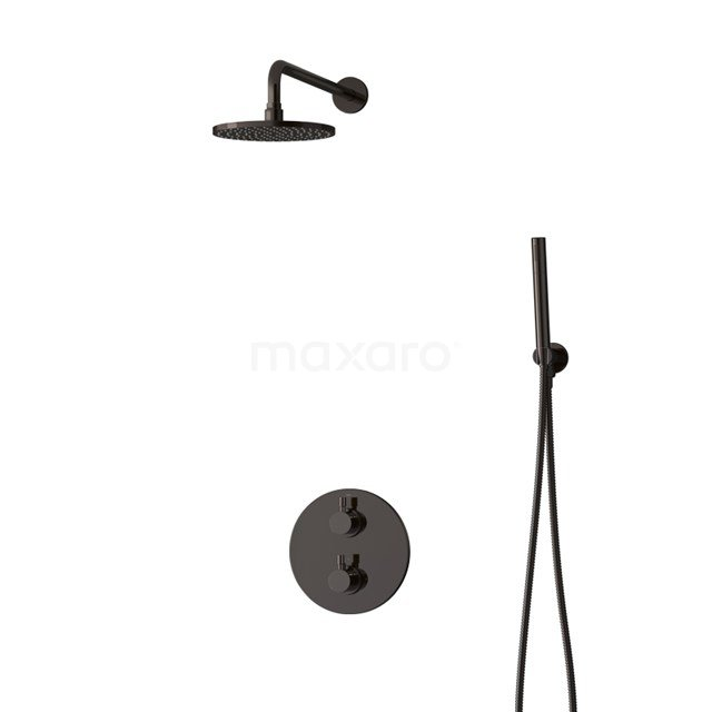 Inbouw Regendoucheset Radius Black Chrome, Thermostaatkraan, 20cm Hoofddouche, Zwart Chroom BIB55-00037