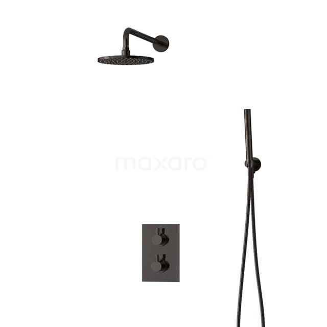 Inbouw Regendoucheset Radius Black Chrome, Thermostaatkraan, 20cm Hoofddouche, Zwart Chroom BIB55-00038