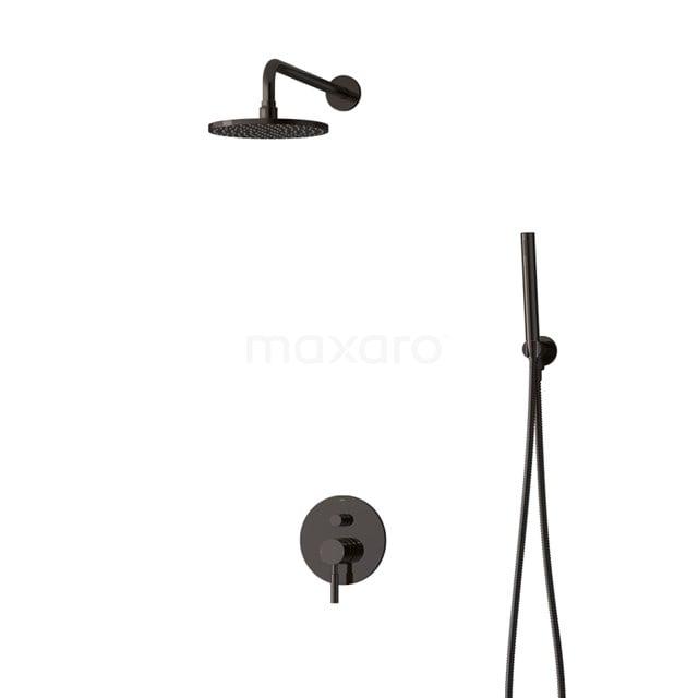 Inbouw Regendoucheset Radius Black Chrome, Eéngreeps Mengkraan, 20cm Hoofddouche, Zwart Chroom BIB55-00039