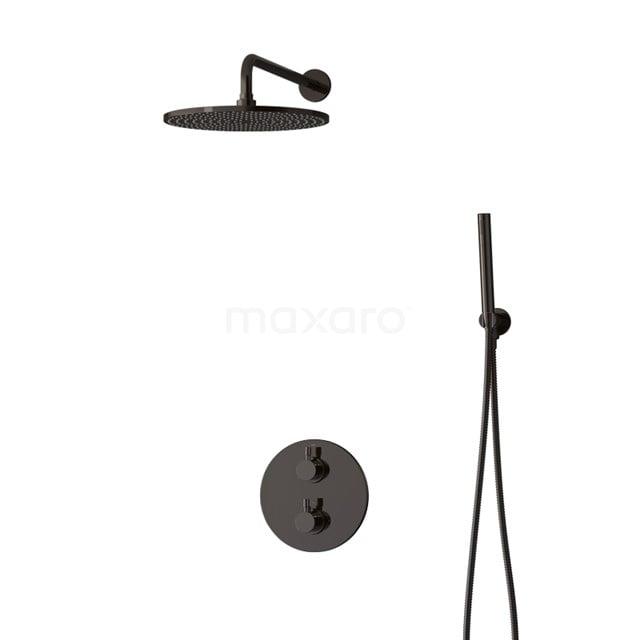 Inbouw Regendoucheset Radius Black Chrome, Thermostaatkraan, 30cm Hoofddouche, Zwart Chroom BIB55-00043