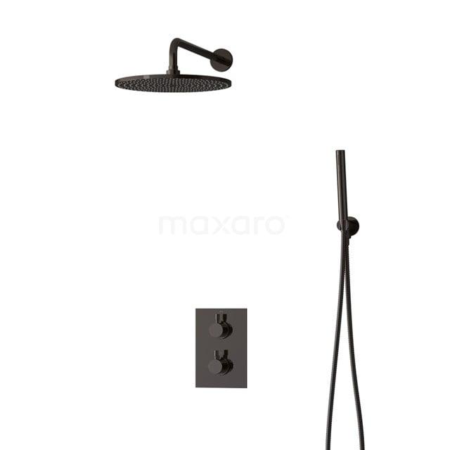 Inbouw Regendoucheset Radius Black Chrome, Thermostaatkraan, 30cm Hoofddouche, Zwart Chroom BIB55-00044