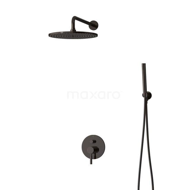 Inbouw Regendoucheset Radius Black Chrome, Eéngreeps Mengkraan, 30cm Hoofddouche, Zwart Chroom BIB55-00045