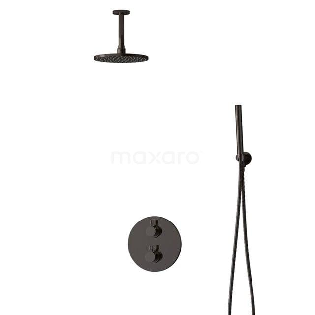 Inbouw Regendoucheset Radius Black Chrome, Thermostaatkraan, 20cm Hoofddouche, Zwart Chroom BIB55-00046