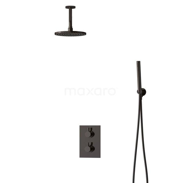 Inbouw Regendoucheset Radius Black Chrome, Thermostaatkraan, 20cm Hoofddouche, Zwart Chroom BIB55-00047