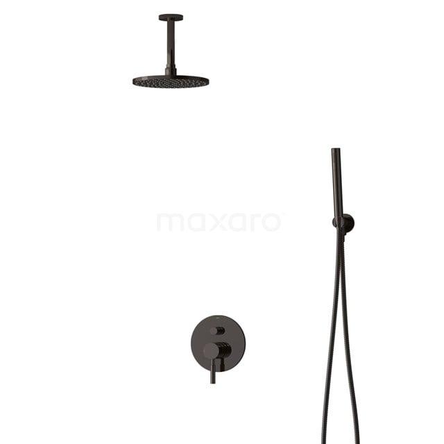Inbouw Regendoucheset Radius Black Chrome, Eéngreeps Mengkraan, 20cm Hoofddouche, Zwart Chroom BIB55-00048