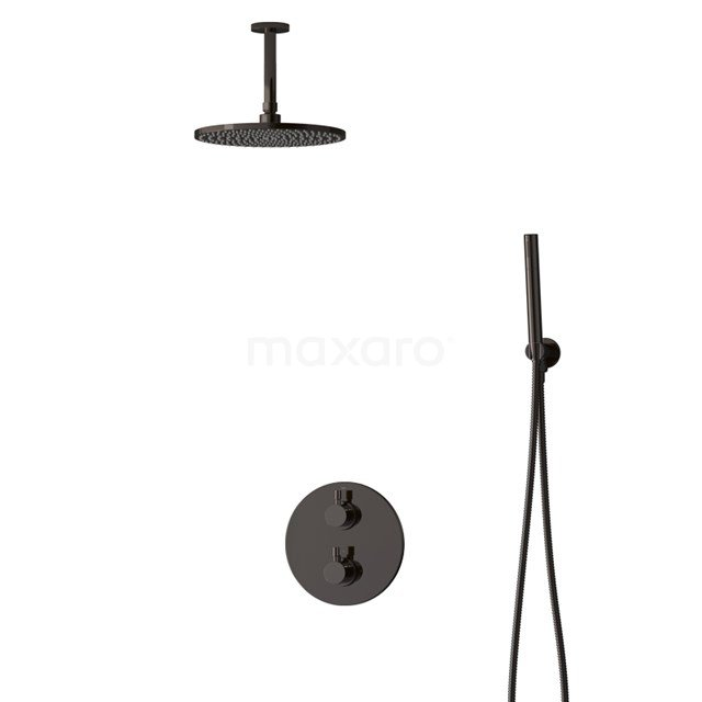 Inbouw Regendoucheset Radius Black Chrome, Thermostaatkraan, 25cm Hoofddouche, Zwart Chroom BIB55-00049