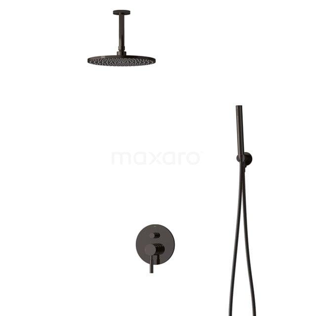 Inbouw Regendoucheset Radius Black Chrome, Eéngreeps Mengkraan, 25cm Hoofddouche, Zwart Chroom BIB55-00051