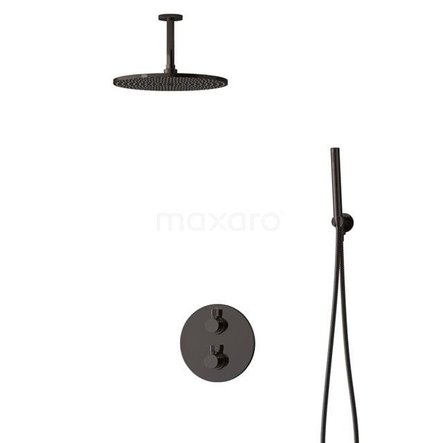 Inbouw Regendoucheset Radius Black Chrome, Thermostaatkraan, 30cm Hoofddouche, Zwart Chroom BIB55-00052