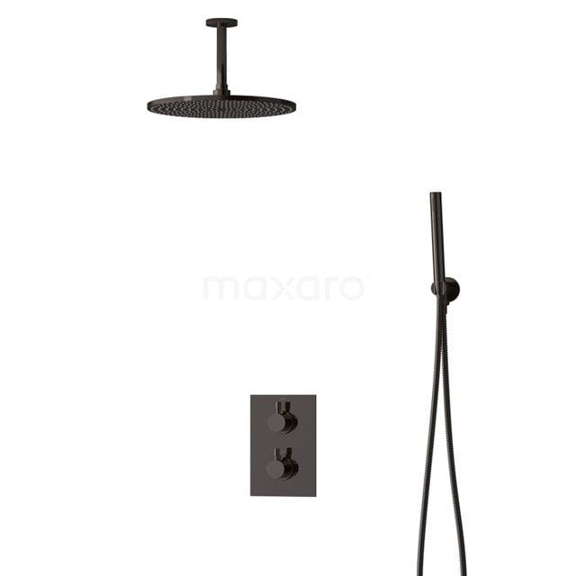 Inbouw Regendoucheset Radius Black Chrome, Thermostaatkraan, 30cm Hoofddouche, Zwart Chroom BIB55-00053