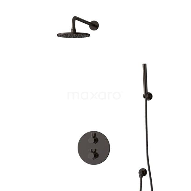 Inbouw Regendoucheset Radius Black Chrome, Thermostaatkraan, 20cm Hoofddouche, Zwart Chroom BIB55-00073