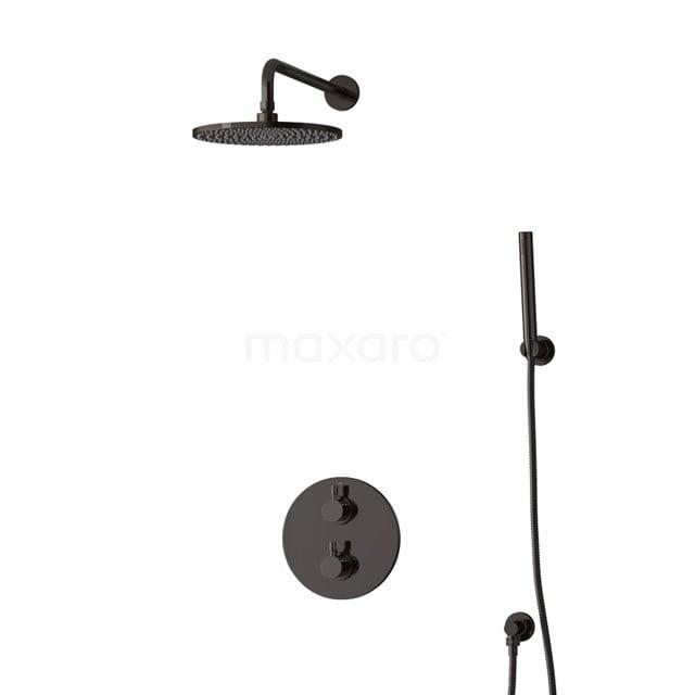 Inbouw Regendoucheset Radius Black Chrome, Thermostaatkraan, 25cm Hoofddouche, Zwart Chroom BIB55-00076