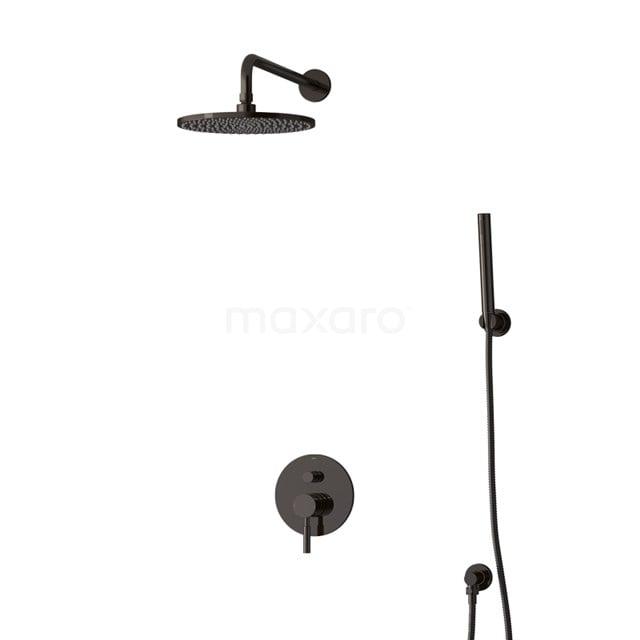 Inbouw Regendoucheset Radius Black Chrome, Eéngreeps Mengkraan, 25cm Hoofddouche, Zwart Chroom BIB55-00078