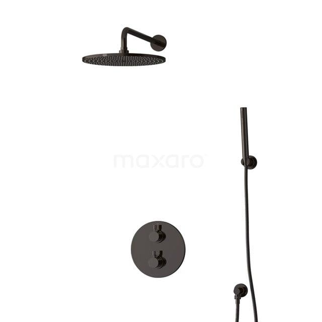 Inbouw Regendoucheset Radius Black Chrome, Thermostaatkraan, 30cm Hoofddouche, Zwart Chroom BIB55-00079