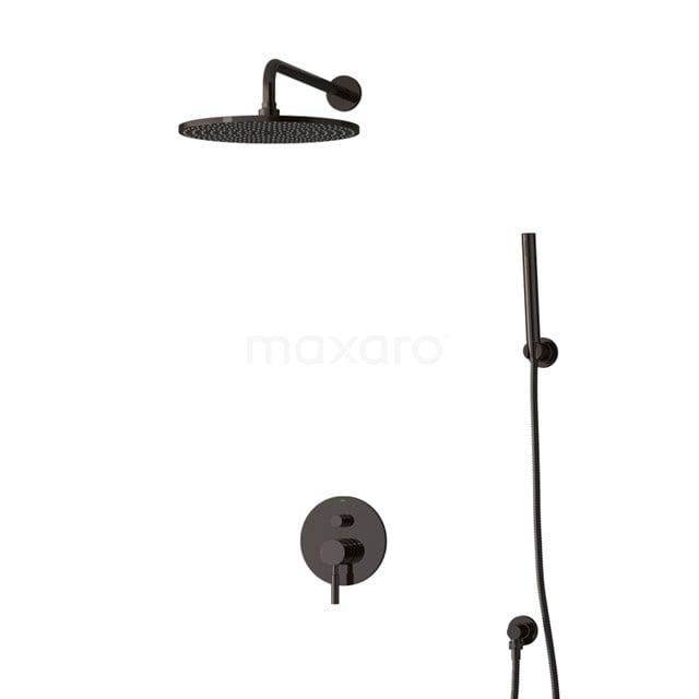 Inbouw Regendoucheset Radius Black Chrome, Eéngreeps Mengkraan, 30cm Hoofddouche, Zwart Chroom BIB55-00081