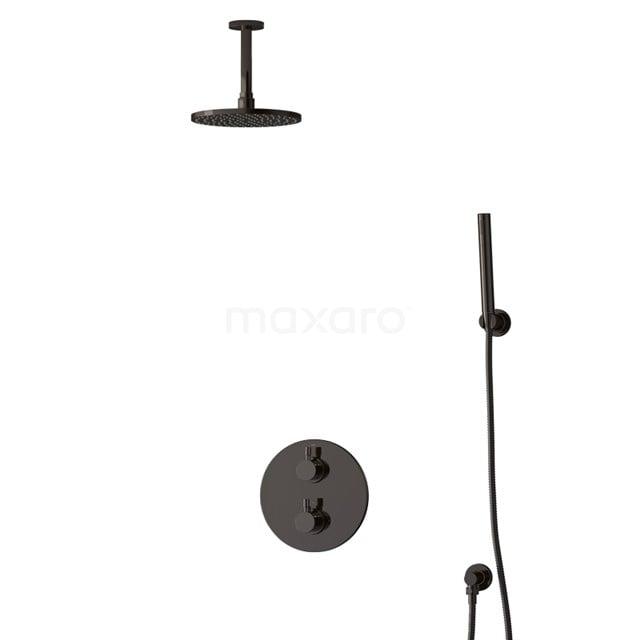 Inbouw Regendoucheset Radius Black Chrome, Thermostaatkraan, 20cm Hoofddouche, Zwart Chroom BIB55-00082